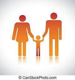 criança, gráfico, coloridos, família, &, nuclear, contém, family., formando, filho, mãe, seu, pai, pais, junto., segurar passa, junto, feliz