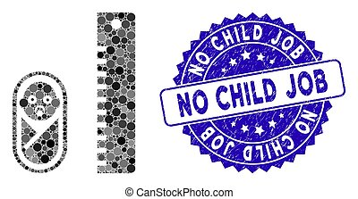 criança, grunge, ícone, não, colagem, selo, trabalho, bebê, altura