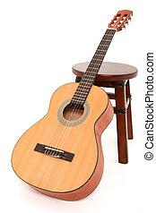 criança, guitarra acústica