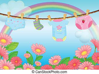 criança, jardim, roupas