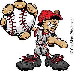criança, jogador basebol, segurando, basebal