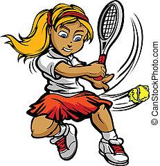 criança, jogador tênis, menina balançando, racquet, em, bola