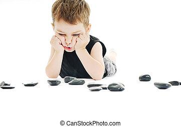 criança, jogo, chão
