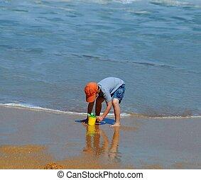 criança, jogo, ligado, praia