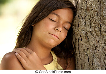 criança jovem, desfrutando, natureza