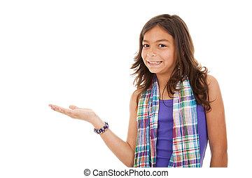 criança jovem, mostrando, algo