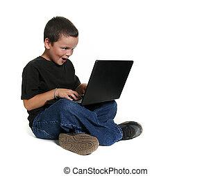 criança jovem, trabalhar, computador laptop