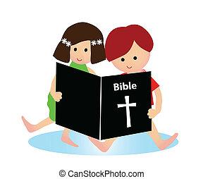 criança, leitura, bíblia