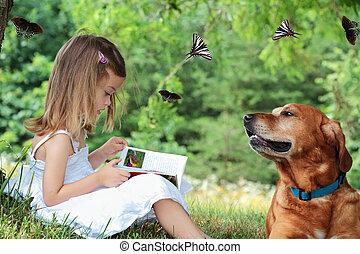 criança, lendo um livro