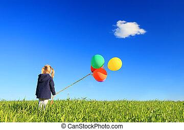 criança, liberdade, e, felicidade, conceito