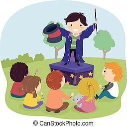 criança, mágico, stickman, ilustração, ao ar livre