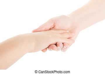 criança, mãe, ele, mãos
