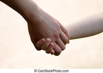 criança, mãe, junto, mãos