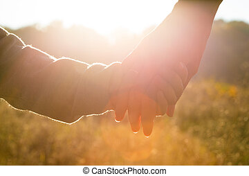 criança, mãe, mãos