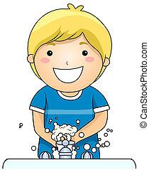 criança, mãos lavando