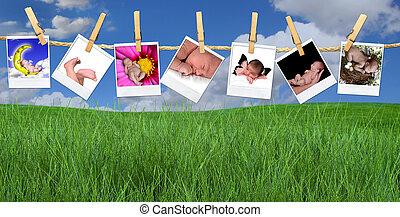 criança, múltiplo, penduradas, varal, ao ar livre, imagens