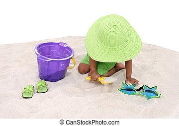 criança, menina, areia, jogo