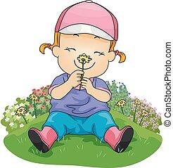 criança, menina, cheiro, jardim flor, ilustração