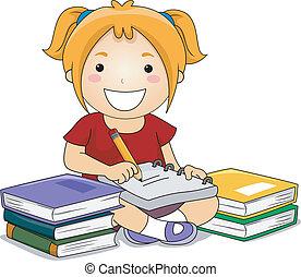 criança, menina, escrita