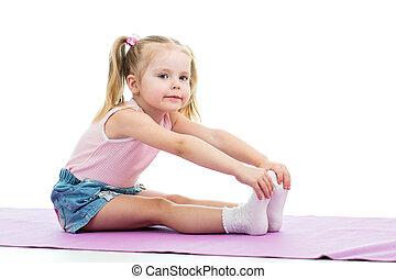 criança, menina, fazendo, condicão física, exercícios