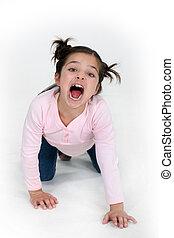 criança, menina, fours, é, gritando