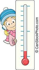 criança, menina, gelado, temperatura, ilustração