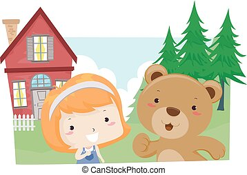 criança, menina, lição, urso, viver