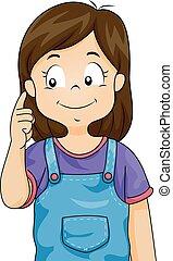 criança, menina, orelha, ilustração, ponto
