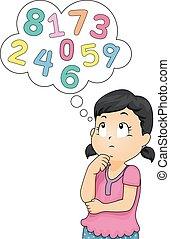 criança, menina, pensar, números