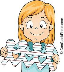 criança, menina, povos papel, forma
