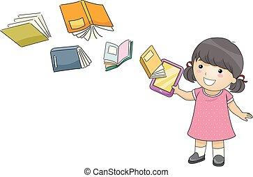 criança, menina, tabuleta, leitor, livros, ilustração