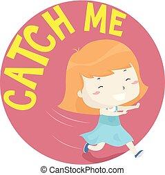 criança, menina, toddler, apanhar, mim, ilustração