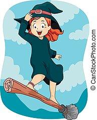 criança, menina, wizard, vassoura, vara, voando, ficar