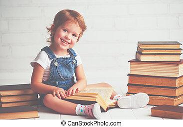 criança, menininha, com, livros