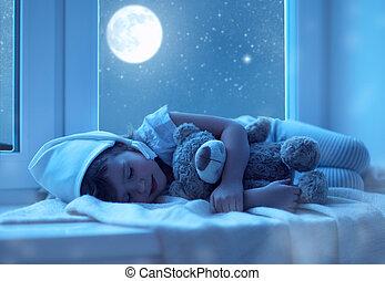 criança, menininha, dormir, em, janela, sonhar, e, admirar,...