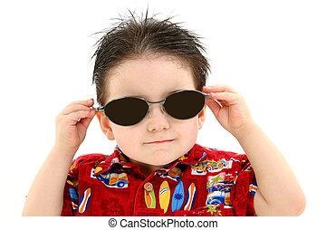 criança menino, óculos de sol
