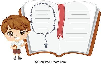 criança, menino, bíblia, livro, ilustração