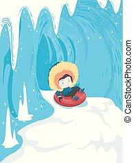criança, menino, caverna gelo, neve, tubo, ilustração