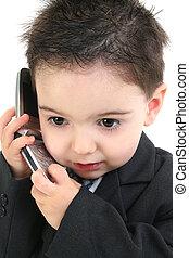 criança menino, cellphone