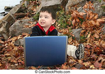 criança menino, computador