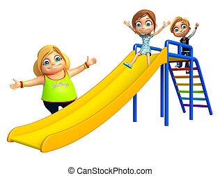 criança, menino, e, criança, menina, com, deslizamento