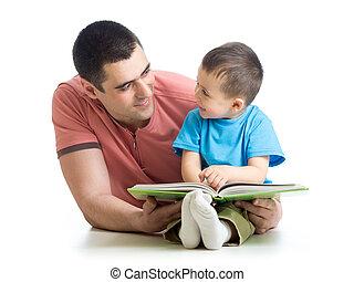 criança, menino, e, seu, pai, ler, um, livro