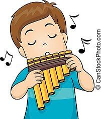criança, menino, flauta panela