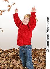 criança menino, folhas