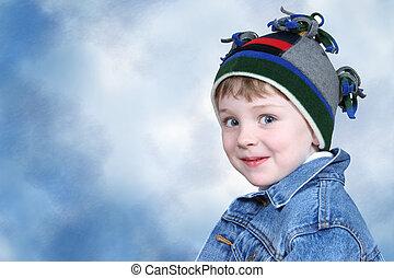 criança menino, inverno