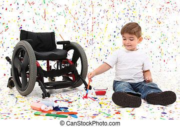 criança menino, quadro, cadeira rodas