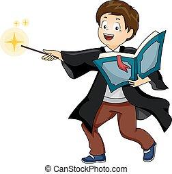 criança, menino, wizard, lançar, feitiço