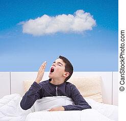 criança, mentindo cama, com, sono