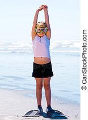 criança, mergulhador