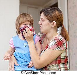 criança, mulher, wipes, dela, snot